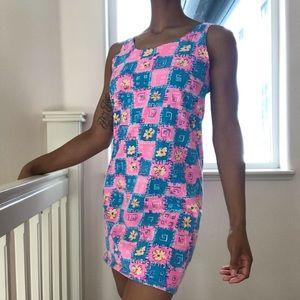 90's Vintage Neon Checkered Mini Cotton Tank Dress